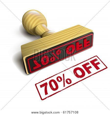 Stamp 70% Off With Red Text On White