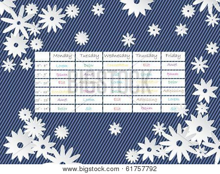 Cool Timetable Template Design With Flowers