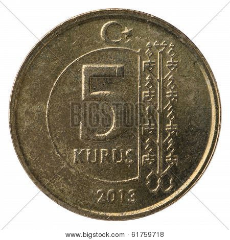 5 Turkish Kurus Coin, 2013, Back