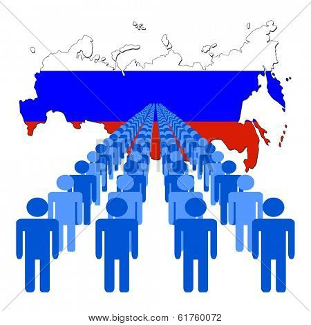 Lines of people with Russia map flag vector illustration