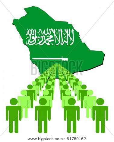Lines of people with Saudi Arabia map flag vector illustration