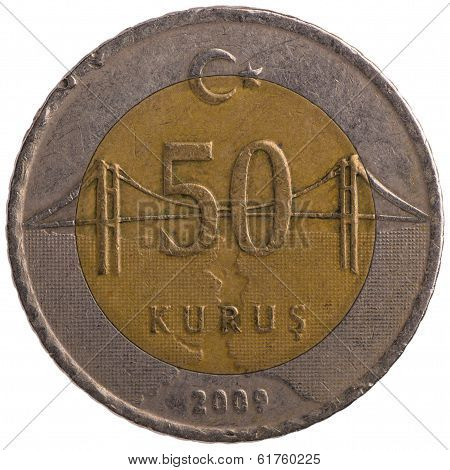 50 Turkish Kurus Coin, 2009, Back