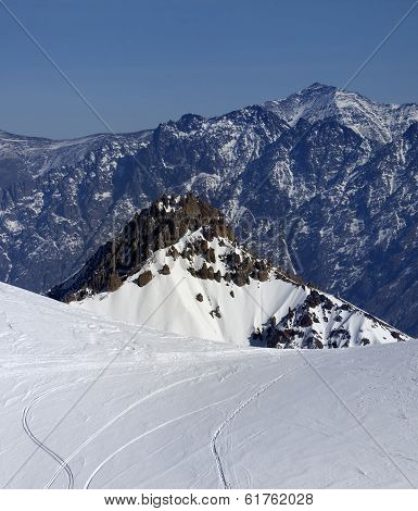 Trace From Ski And Snowboards On Off-piste Slope