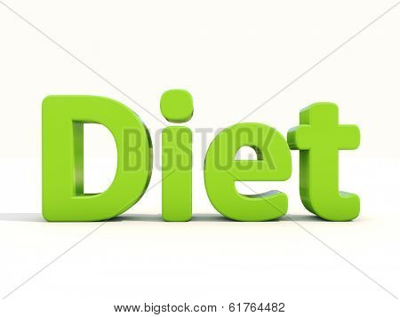 Word diet icon on a white background. 3D illustration.