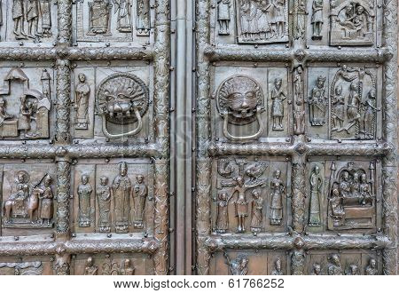 Fragment Of Magdeburg Gate Of The St. Sophia Cathedral, Veliky Novgorod, Russia