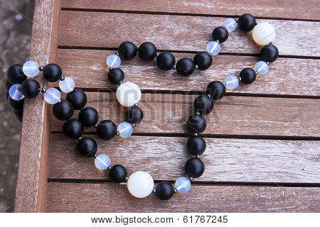 Necklace Of Black And Moonstone Beads
