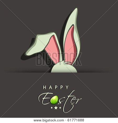 Happy Easter celebrations greeting card design with bunny ears on grey background and stylish text.