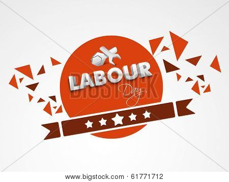 Labour day sticker, tag or label design with stylish text and tools, wrench on red background.