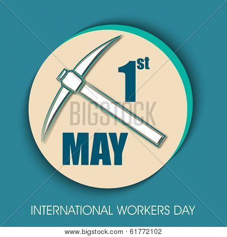 Sticker, tag or label design with tools for Labours Day on green background.