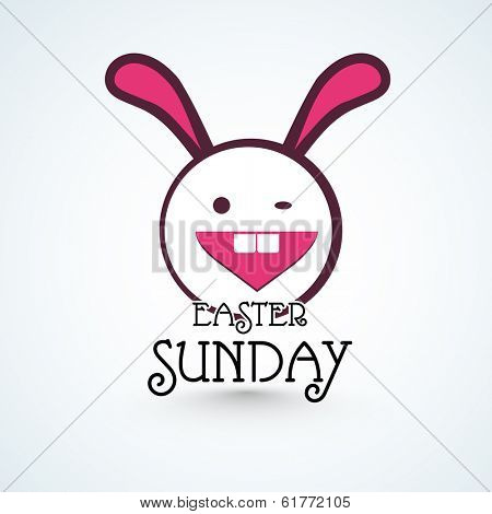 Happy Easter celebrations greeting card design with cute bunny winking and stylish text Easter Sunday on grey background.
