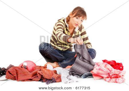 Beautiful Teenager Selecting Clothes