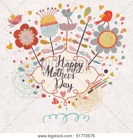 Happy mothers day card in cartoon style. Bright spring concept illustration with flowers, birds and hearts in vector