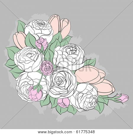 Bright floral background with peonies
