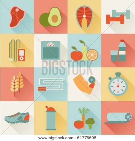 set of flat healthy life icons