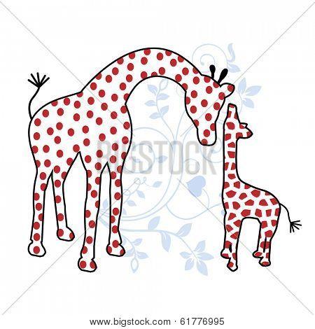 mom and baby giraffe