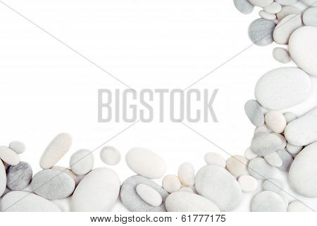 white pebble stone frame