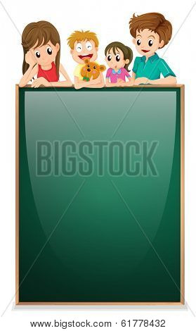 Illustration of the kids above the empty board on a white background