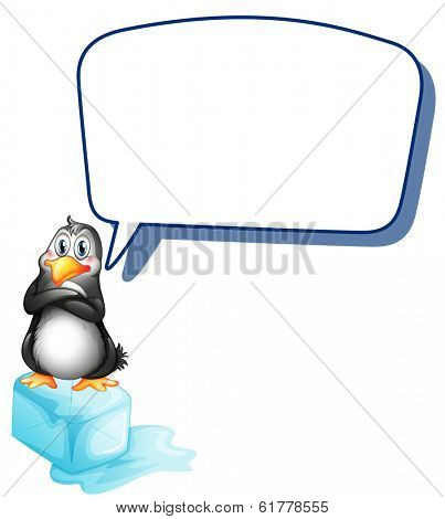 Illustration of a penguin above an icecube with an empty callout on a white background