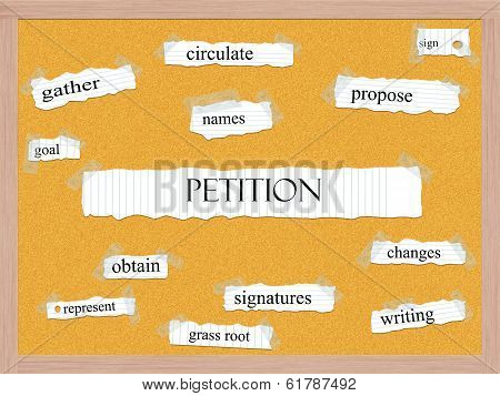 Petition Corkboard Word Concept