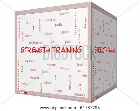 Strength Training Word Cloud Concept On A 3D Cube Whiteboard
