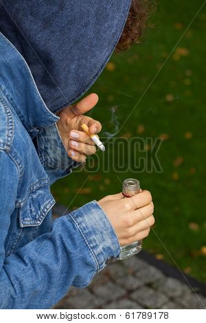 Sad Teenager With Cigarette