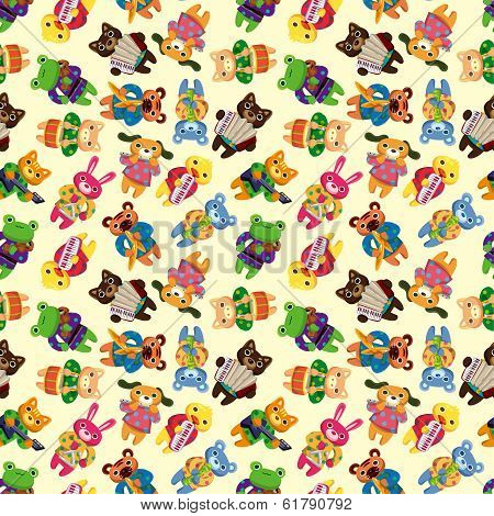 Animal Play Music Seamless Pattern