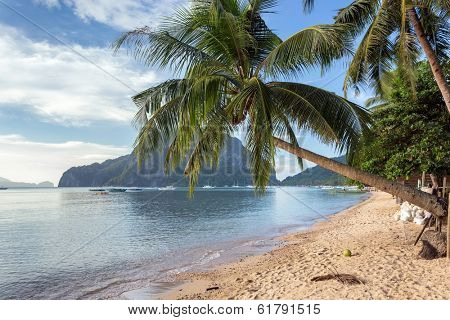 Marimegmeg tropical beach in Palawan, Philippines