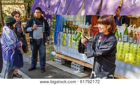 Sake Stall at Kinkakuji Temple in Kyoto