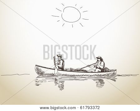 Summer sport canoe with two people Vector sketch