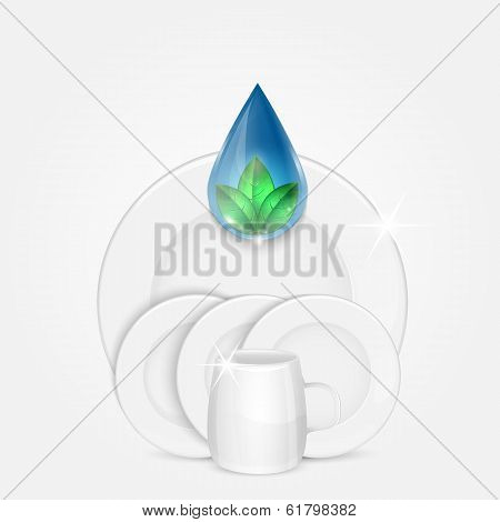 Set Of Clean Dishes With Water Drop And Green Leaves