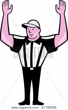 American Football Referee Touchdown Cartoon