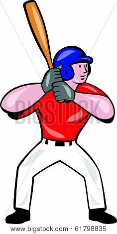 Baseball Player Batting Front Isolated Cartoon