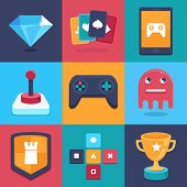 stock photo of controller  - Vector online and mobile game icons and signs  - JPG