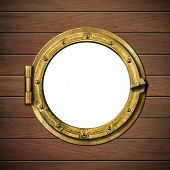 boat window or porthole on wooden ship wall