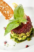stock photo of tatar  - Tuna with Avocado Tartare with Lemon Slice - JPG