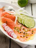 image of radish  - salmon carpaccio with slice grapefruit - JPG
