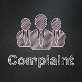 Law concept: Business People and Complaint on chalkboard background