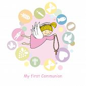 stock photo of communion  - My first communion card - JPG