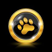 pic of bear tracks  - Golden shiny icon on black background  - JPG