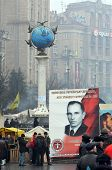 EV, UKRAINE - FEB 10, 2014: Stephan Bandera poster (Ukrainian nationalist icon ). Downtown of Kiev.