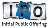 foto of initials  - Three letters IPO in different with Initial Public Offering text - JPG
