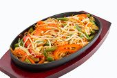 foto of lo mein  - thai noodles with fresh vegetables on black plate - JPG