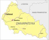 stock photo of zakarpattia  - Map of Zakarpattia Oblast  - JPG
