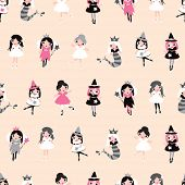 pic of halloween characters  - Seamless girls illustration dress up fantasy character halloween and princess background pattern in vector - JPG