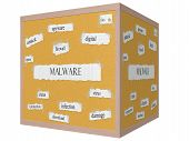 picture of malware  - Malware 3D cube Corkboard Word Concept with great terms such as digital attack virus and more - JPG