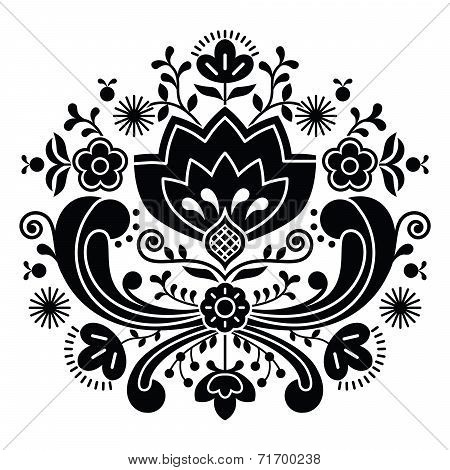 Norwegian folk art Bunad black pattern - Rosemaling style embroidery