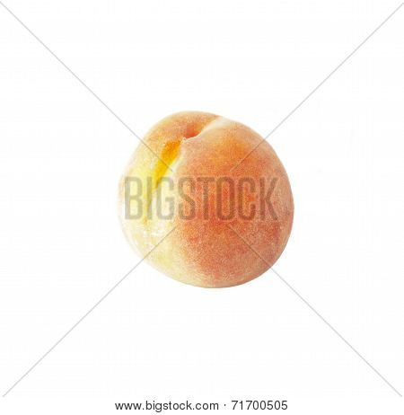 Ripe peaches with fluff plucked from the tree isolated over white background