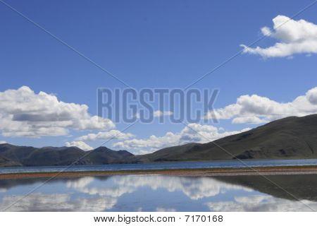 lake in blue sky