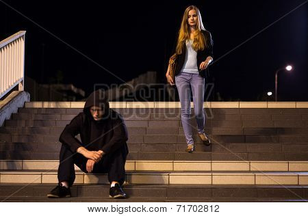Afraid Woman On Stairs