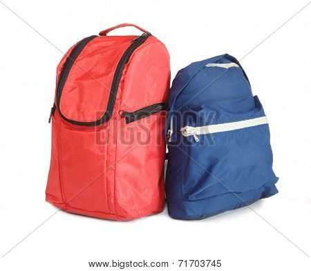 Red and blue schoolbag.